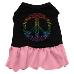 Mirage Pet Products Rhinestone Rainbow Peace Dress Black with Pink Lg (14)