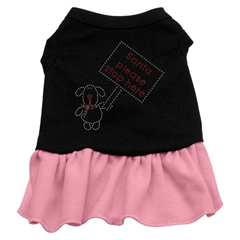 Mirage Pet Products Santa Stop Here Rhinestone Dress Black with Pink XS (8)