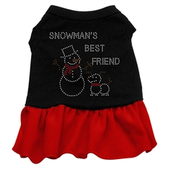 Mirage Pet Products Snowman's Best Friend Rhinestone Dress Black with Red XXXL (20)
