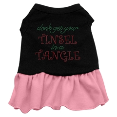 Mirage Pet Products Tinsel in a Tangle Rhinestone Dress Black with Pink XXL (18)