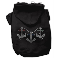 Mirage Pet Products Rhinestone Anchors Hoodies Black XS (8)