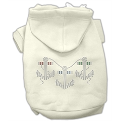 Mirage Pet Products Rhinestone Anchors Hoodies Cream XXXL(20)