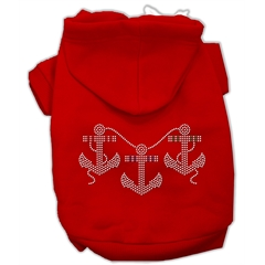 Mirage Pet Products Rhinestone Anchors Hoodies Red XS (8)