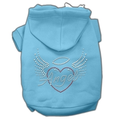 Mirage Pet Products Angel Heart Rhinestone Hoodies Baby Blue XXXL(20)