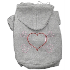 Mirage Pet Products Heart and Crossbones Hoodies Grey XXXL(20)