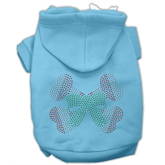Mirage Pet Products Candy Cane Crossbones Rhinestone Hoodie Baby Blue XXXL(20)