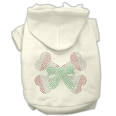 Mirage Pet Products Candy Cane Crossbones Rhinestone Hoodie Cream XS (8)