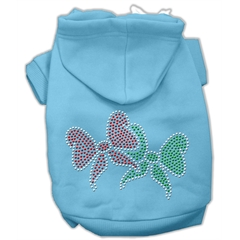 Mirage Pet Products Christmas Bows Rhinestone Hoodie Baby Blue XL (16)