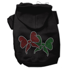 Mirage Pet Products Christmas Bows Rhinestone Hoodie Black XL (16)