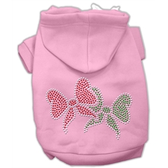 Mirage Pet Products Christmas Bows Rhinestone Hoodie Pink S (10)