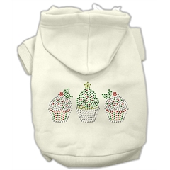 Mirage Pet Products Christmas Cupcakes Rhinestone Hoodie Cream XL (16)