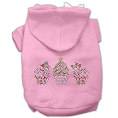 Mirage Pet Products Christmas Cupcakes Rhinestone Hoodie Pink XXXL(20)