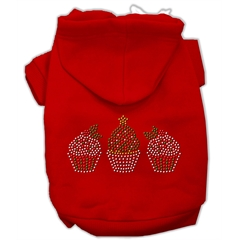 Mirage Pet Products Christmas Cupcakes Rhinestone Hoodie Red XXXL(20)