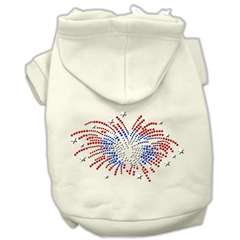 Mirage Pet Products Fireworks Rhinestone Hoodie Cream XL (16)