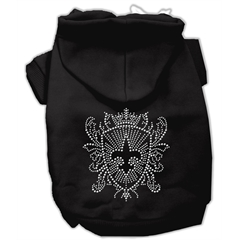 Mirage Pet Products Rhinestone Fleur De Lis Shield Hoodies Black XXXL(20)