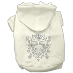 Mirage Pet Products Rhinestone Fleur De Lis Shield Hoodies Cream L (14)
