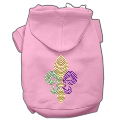 Mirage Pet Products Mardi Gras Fleur De Lis Rhinestone Hoodies Pink XXXL(20)