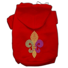 Mirage Pet Products Mardi Gras Fleur De Lis Rhinestone Hoodies Red L (14)
