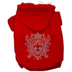 Mirage Pet Products Rhinestone Fleur De Lis Shield Hoodies Red M (12)