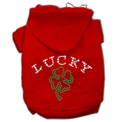 Mirage Pet Products Four Leaf Clover Outline Hoodies Red XXXL(20)