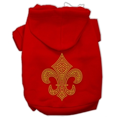 Mirage Pet Products Gold Fleur De Lis Hoodie Red XL (16)