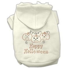 Mirage Pet Products Happy Halloween Rhinestone Hoodies Cream M (12)