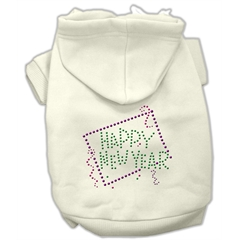 Mirage Pet Products Happy New Year Rhinestone Hoodies Cream XXXL (20)