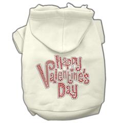 Mirage Pet Products Happy Valentines Day Rhinestone Hoodies Cream S (10)