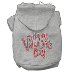 Mirage Pet Products Happy Valentines Day Rhinestone Hoodies Grey XS (8)