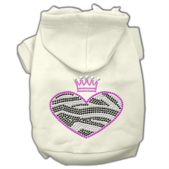 Mirage Pet Products Zebra Heart Rhinestone Hoodies Cream L (14)