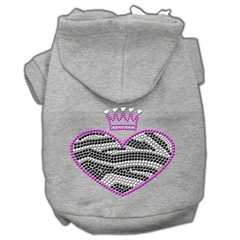 Mirage Pet Products Zebra Heart Rhinestone Hoodies Grey XS (8)