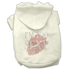 Mirage Pet Products I'm Too Sexy Rhinestone Hoodies Cream XL (16)
