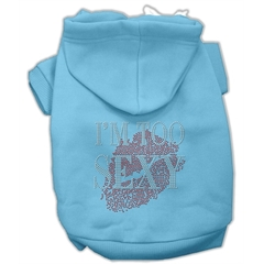 Mirage Pet Products I'm Too Sexy Rhinestone Hoodies Baby Blue L (14)