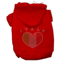 Mirage Pet Products Italian Rhinestone Hoodies Red XXXL(20)