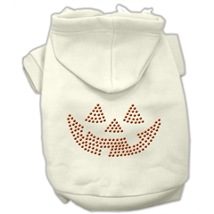 Mirage Pet Products Jack O' Lantern Rhinestone Hoodies Cream XXXL(20)
