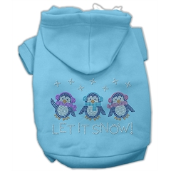 Mirage Pet Products Let it Snow Penguins Rhinestone Hoodie Baby Blue M (12)