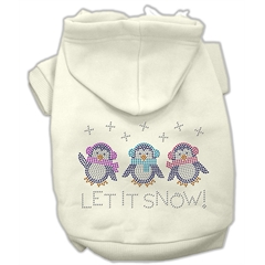 Mirage Pet Products Let it Snow Penguins Rhinestone Hoodie Cream L (14)