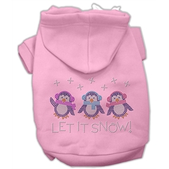 Mirage Pet Products Let it Snow Penguins Rhinestone Hoodie Pink S (10)