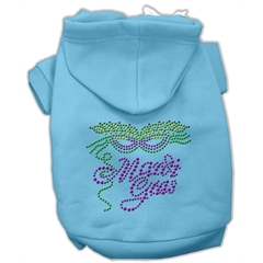 Mirage Pet Products Mardi Gras Rhinestud Hoodies Baby Blue XXXL(20)