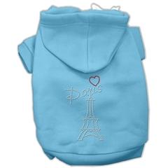 Mirage Pet Products Paris Rhinestone Hoodies Baby Blue XXXL(20)
