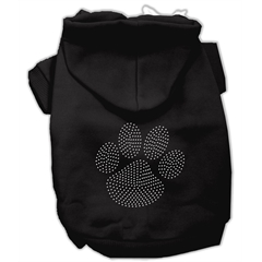 Mirage Pet Products Clear Rhinestone Paw Hoodies Black L (14)