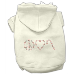 Mirage Pet Products Peace, Love and Candy Canes Hoodies Cream L (14)