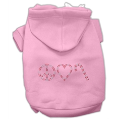 Mirage Pet Products Peace, Love and Candy Canes Hoodies Pink S (10)