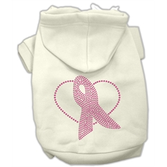 Mirage Pet Products Pink Ribbon Rhinestone Hoodies Cream L (14)