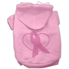 Mirage Pet Products Pink Ribbon Rhinestone Hoodies Pink L (14)