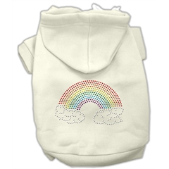Mirage Pet Products Rhinestone Rainbow Hoodies Cream XL (16)