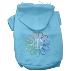 Mirage Pet Products Rhinestone Rainbow Flower Peace Sign Hoodie Baby Blue XS (8)