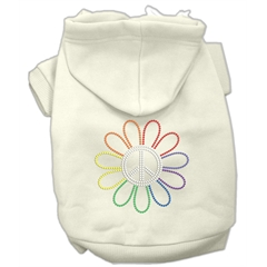 Mirage Pet Products Rhinestone Rainbow Flower Peace Sign Hoodie Cream XS (8)