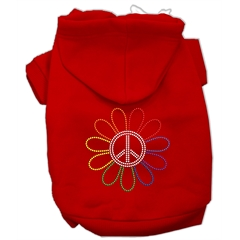 Mirage Pet Products Rhinestone Rainbow Flower Peace Sign Hoodie Red XXXL(20)
