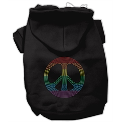 Mirage Pet Products Rhinestone Rainbow Peace Sign Hoodies Black L (14)